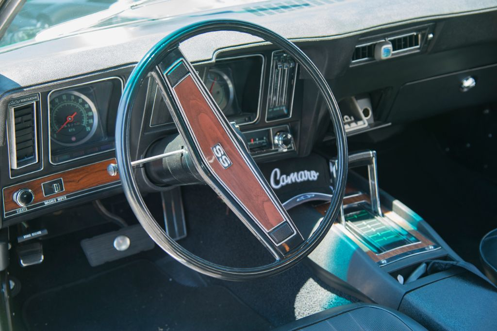 The car's interior has been meticulously restored to original form—factory A/C and all.