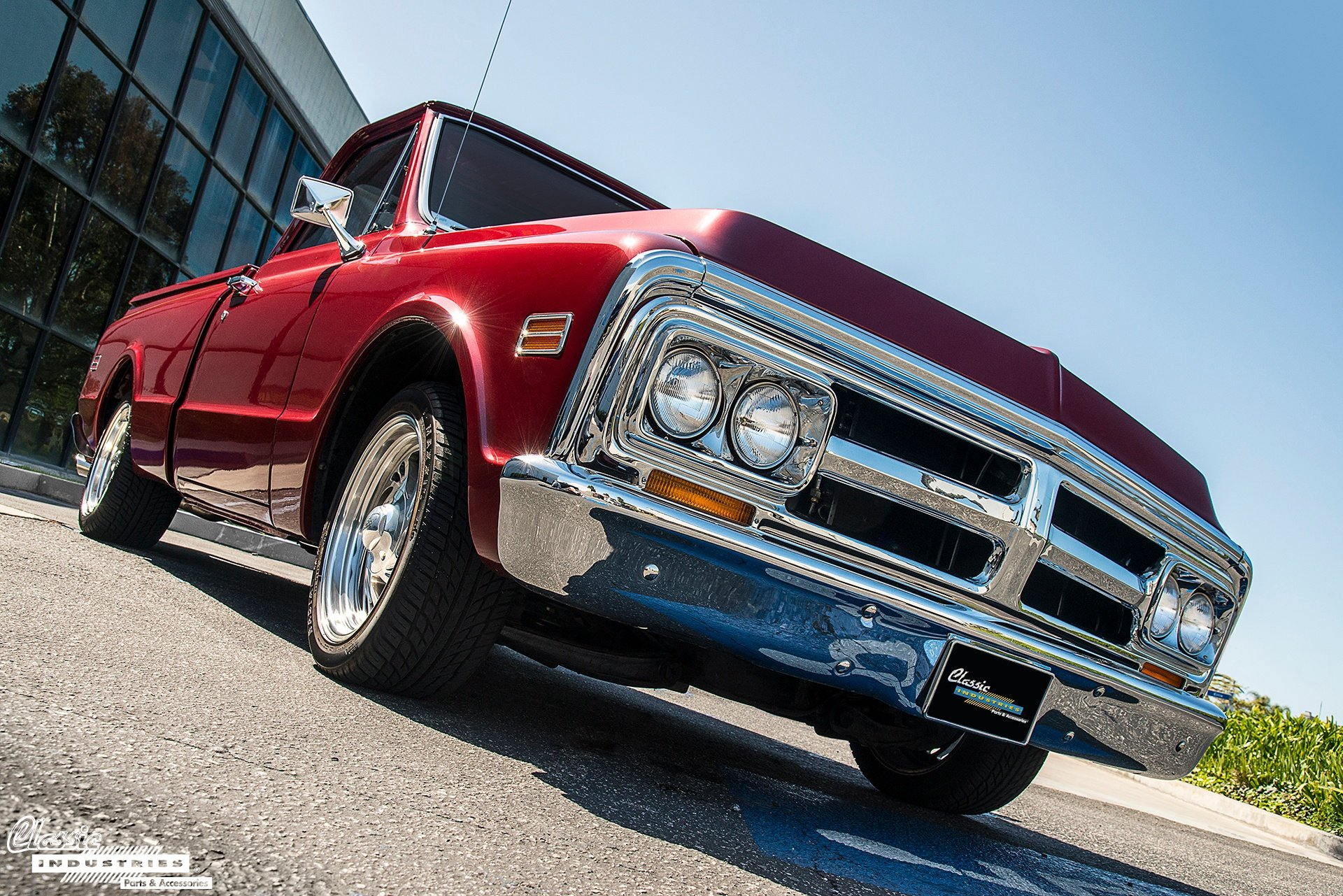 With Its Quad Headlamps And Distinctive Crosshair Shaped Grill The 1967 72 GMC Pickup Truck Diverges Slightly From Appearance Of More Common Chevy