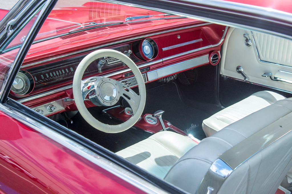 Red and white seem to be a match made in heaven, as illustrated by this Chevy's beautifully restored interior.