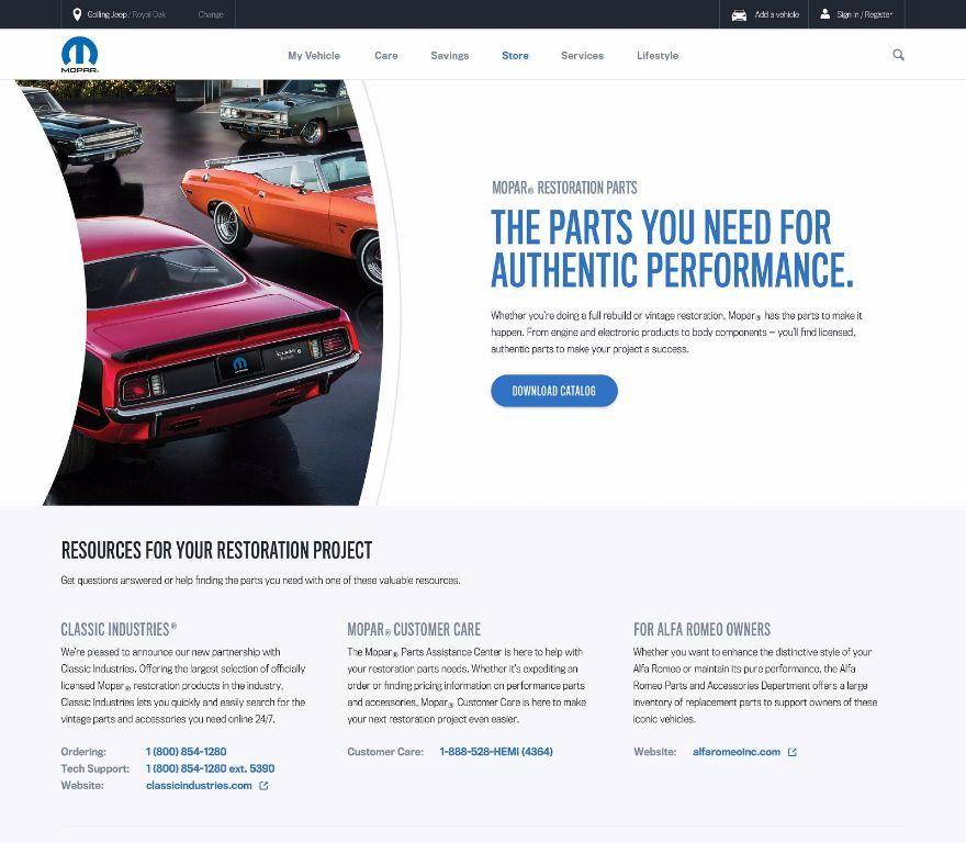 Mopar Restoration Parts Web Portal