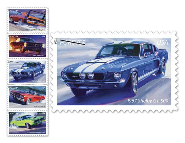 Since February, 2013 the USPS has been offering a forever stamp commemorating muscle cars.