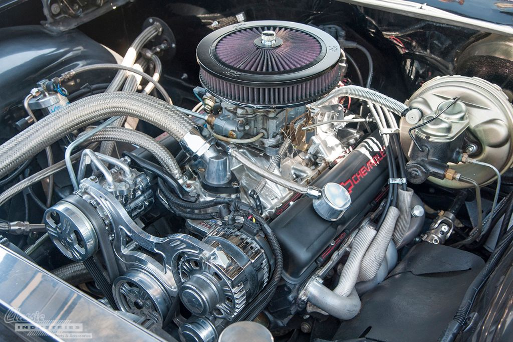 Under the hood of this Impala, you'll find a fully rebuilt and modified 350ci small-block. Ernesto tells us he prefers the bare aluminum and black powdercoated parts over chrome, since he didn't want the car looking too flashy.
